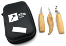 Zite Tools Schnitzwerkzeug-Set - Tasche + 3 Messer + Abziehstein